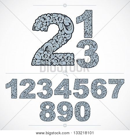 Set of vector ornate numbers flower-patterned numeration. Blue characters created using herbal texture.