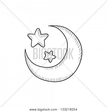 Moon and stars vector sketch icon isolated on background. Hand drawn Moon and stars icon. Moon and stars sketch icon for infographic, website or app.