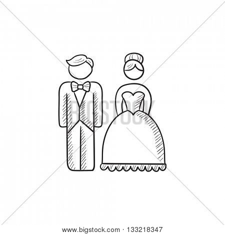Bride and groom vector sketch icon isolated on background. Hand drawn Bride and groom icon. Bride and groom sketch icon for infographic, website or app.