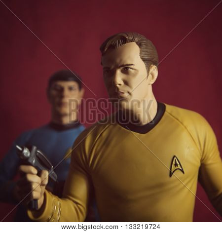 BLOOMFIELD NJ - JUNE 5 2016: Filtered image of Captain Kirk and Mr. Spock toys recreate a scene from Star Trek.