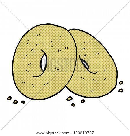 freehand drawn cartoon bagels