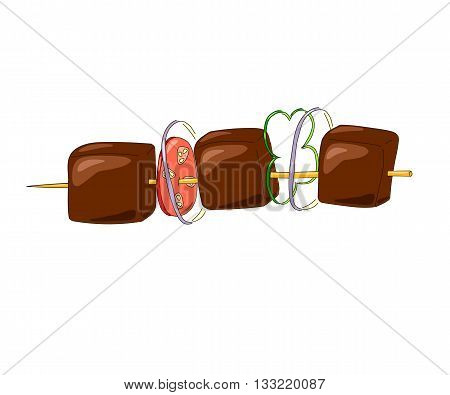Shish kebab on a wooden stick with vegetables. vector illustration