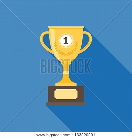 gold trophy illustration, trophy cup with long shadow icon, flat design