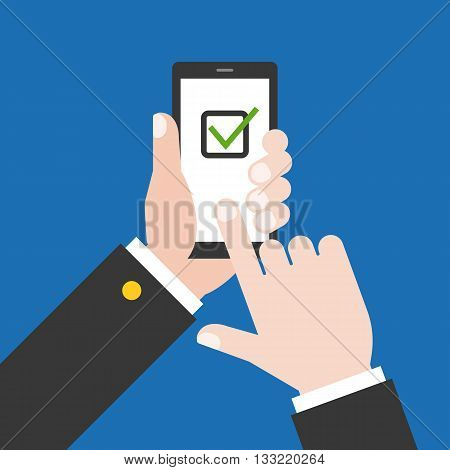 Hand holding smart phone illustration, Hand touching smart phone screen with check list symbol, Hand Using smart phone with check mask concept, flat design