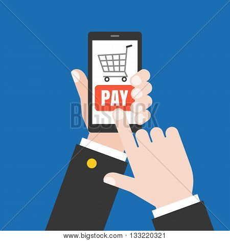 Hand holding  smart phone illustration, Hand touching screen with buy button, Hand Using smartphone for pay money online, business online and e commerce concept, flat design