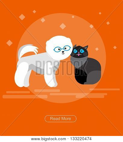 character design cat and dog for pet shop, Pets accessories and vet store