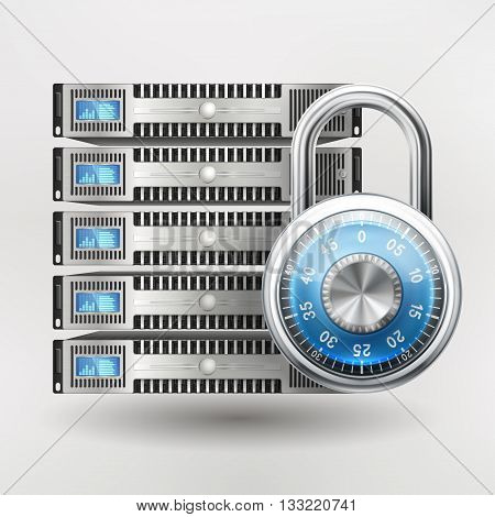 Network safety icon - server closed with padlock database security. Password requirement or access denied. EPS 10 contains transparency.
