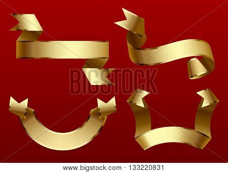 Gold ribbons set isolated on dark red background. Contain the Clipping Path