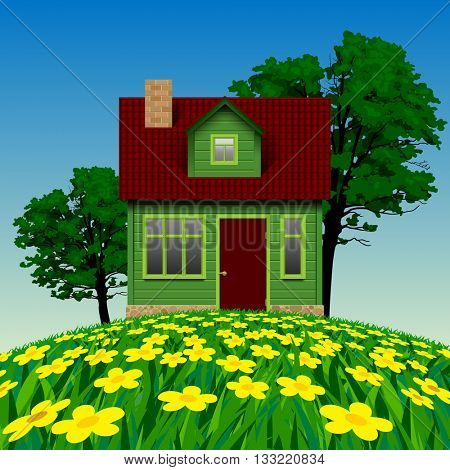 Green realistic house in the summer landscape with a floral meadow and trees. 3D illustration