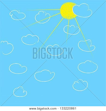 sun and clouds on blue sky. hand drawn vector