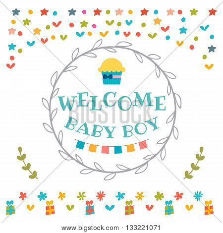 Baby Boy Shower Card. Welcome Baby Boy. Baby Boy Arrival Postcard. Baby Shower Greeting Card
