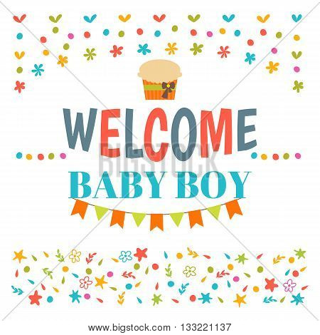 Welcome Baby Boy Shower Card. Arrival Card. Announcement Card. Cute Postcard