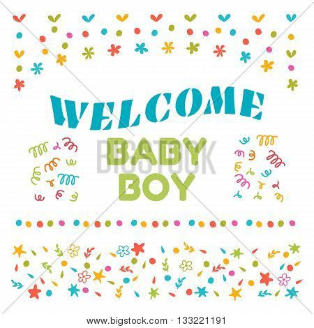 Welcome Baby Boy Shower Card. Arrival Card. Cute Postcard