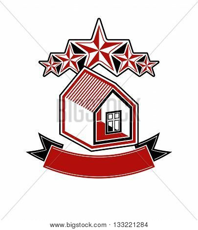 Simple house with five stars and classic ribbon. Decorative vector design element.