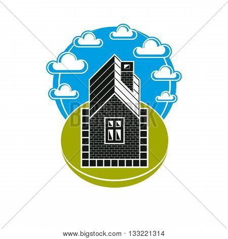 Simple house illustration countryside idea. Abstract vector image of building over beautiful landscape with blue sky and fluffy clouds.