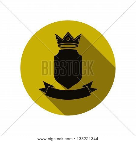 Heraldic symbol protection shield with king crown and beautiful ribbon. Royal emblem imperial stylish icon for use in graphic design.