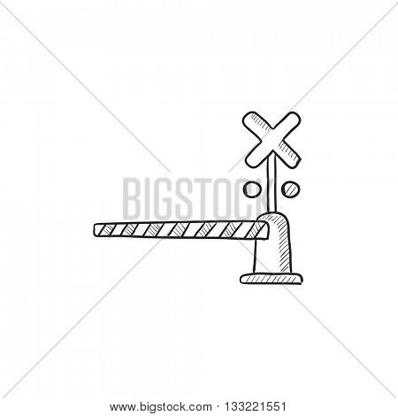 Railway barrier vector sketch icon isolated on background. Hand drawn Railway barrier icon. Railway barrier sketch icon for infographic, website or app.