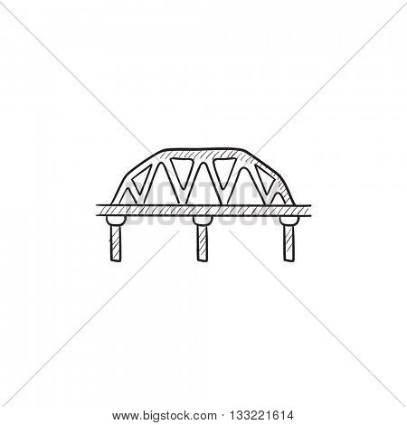 Rail way bridge vector sketch icon isolated on background. Hand drawn Rail way bridge icon. Rail way bridge sketch icon for infographic, website or app.