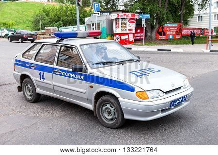 SAMARA RUSSIA - JUNE 4 2016: Russian police patrol car of the State Automobile Inspectorate parked on the city street in summer day