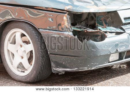Details of a car an accident in summer day