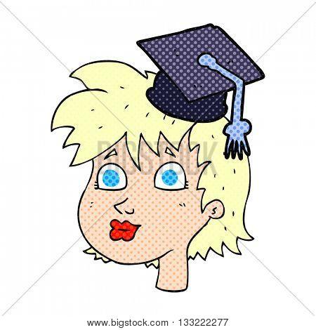 freehand drawn cartoon woman wearing graduate cap