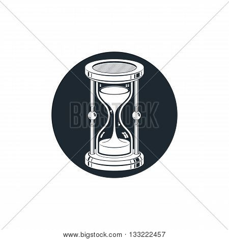 Time without end conceptual icon web design element. 3d antique hourglass isolated on white.