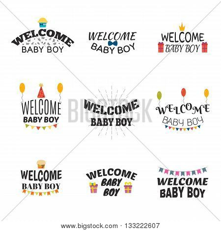 Welcome Baby Boy. Baby Boy Arrival Postcards. Baby Shower Card Design. Set Of Labels, Emblems, Badge