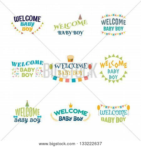 Welcome Baby Boy. Baby Boy Arrival Postcards. Baby Shower Card Design. Set Of Labels, Emblems, Stick
