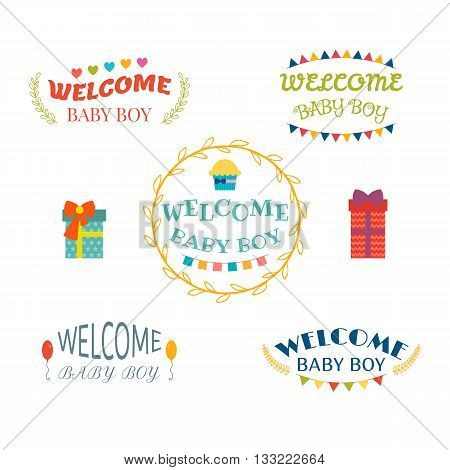Welcome Baby Boy. Baby Boy Arrival Postcards. Baby Shower Design. Set Of Labels, Emblems, Stickers O