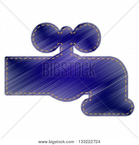 Water faucet sign illustration. Jeans style icon on white background.