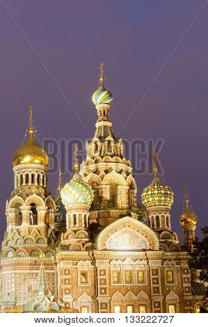 Church Of The Resurrection Christ , St Petersburg, Russia At Night
