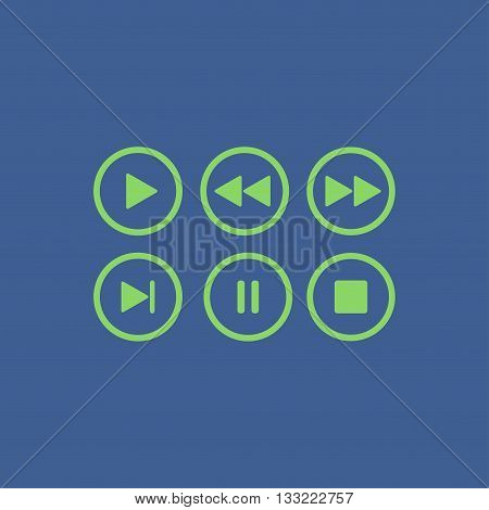 Media player buttons collection vector design elements.