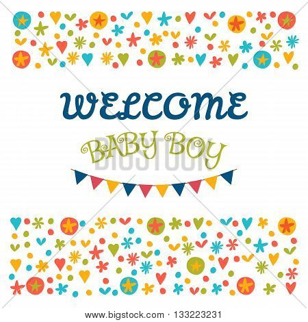 Welcome Baby Boy. Baby Shower Greeting Card. Baby Boy Shower Card. Baby Boy Arrival Postcard