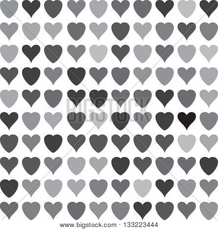 Gray scale Doodle Heart pattern. Hand-drawn monochrome heart isolated on white background vector element for your design