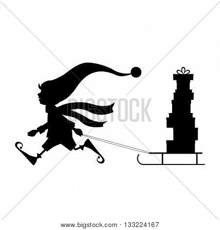 Running cute Christmas elf with sled and gifts. Vector illustration. Background.