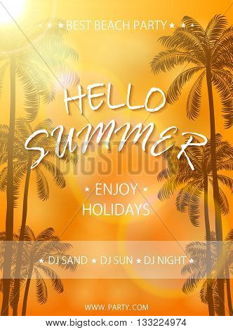 Summer beach party on orange background, flyer template, Summer holidays poster with palm trees, lettering Hello Summer and enjoy holidays, illustration.