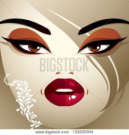Emotional Expression On The Face Of A Cute Girl.  Angry Woman With A Modern Makeup And Stylish Haird