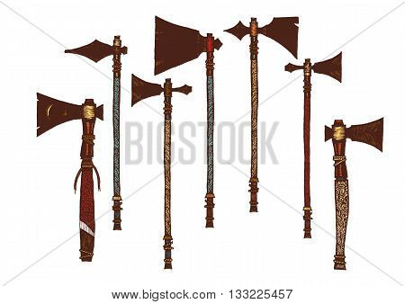 Set of 7 colored tomahawks. Isolated. The concept for the design. Vector illustration. Authentic weapon American Indians.