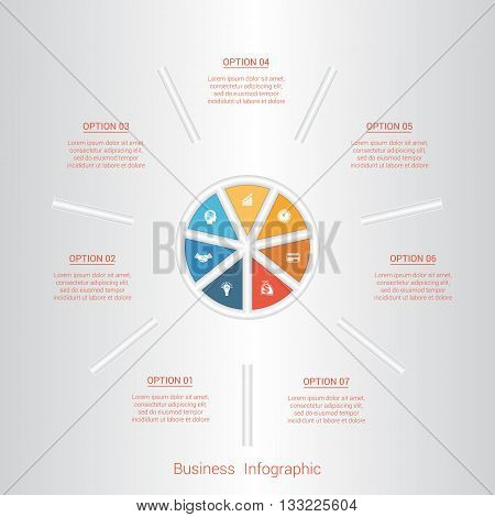 Pie infographic template with text areas on seven positions parts.