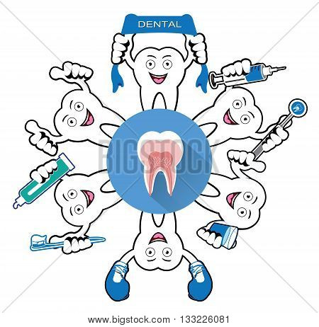 Cartoon Smiling tooth with tooth icon.It's for dental illustration.