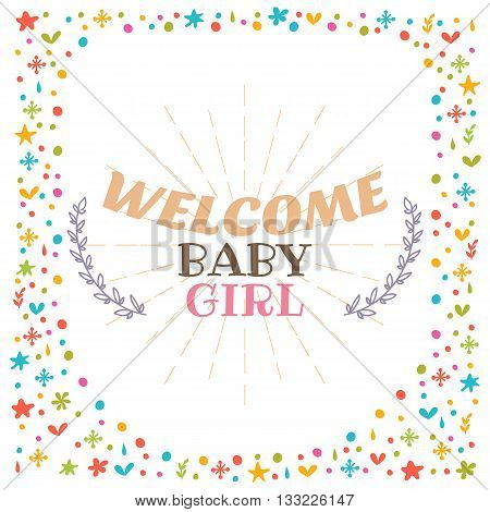 Welcome Baby Girl Shower Card. Cute Postcard. Arrival Card