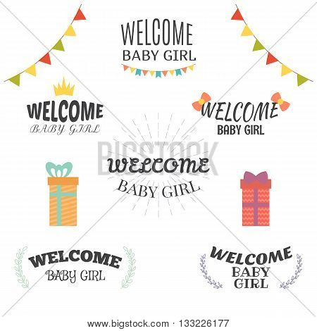 Welcome Baby Girl. Baby Girl Arrival Postcards. Baby Shower Card Design. Set Of Labels, Emblems, Bad