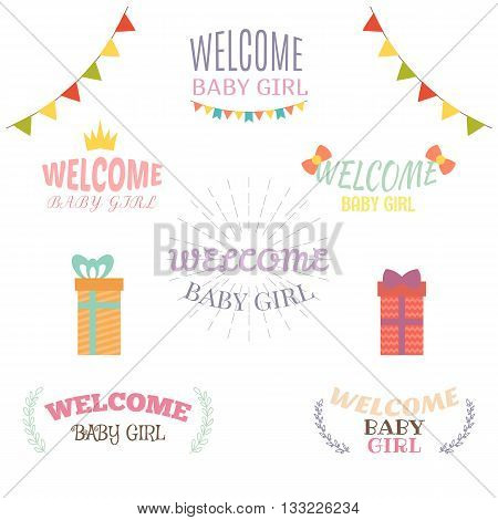 Welcome Baby Girl. Baby Girl Arrival Postcards. Baby Shower Design. Set Of Labels, Emblems, Stickers