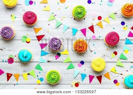 Colorful cupcake party background