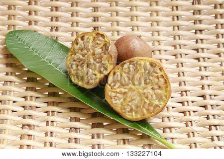 Pomegranate on wood background. Pomegranatethai. Thai pomegranate