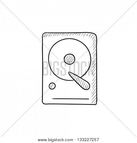 Hard disk vector sketch icon isolated on background. Hand drawn Hard disk icon. Hard disk sketch icon for infographic, website or app.