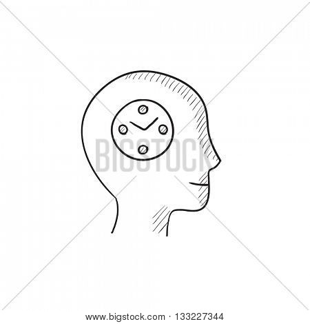Human head with clock vector sketch icon isolated on background. Hand drawn Human head with clock icon. Human head with clock sketch icon for infographic, website or app.