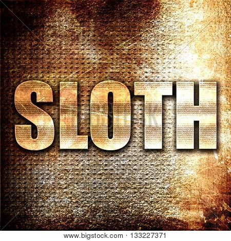 sloth, 3D rendering, metal text on rust background