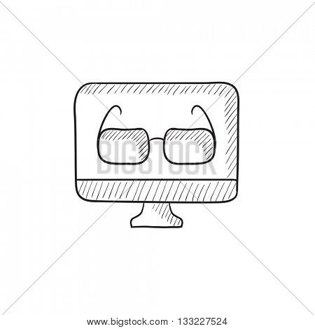 Glasses on computer monitor vector sketch icon isolated on background. Hand drawn Glasses on computer monitor icon. Glasses on computer monitor sketch icon for infographic, website or app.