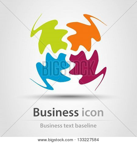 Rainbow business icon with four distracted wawy shapes